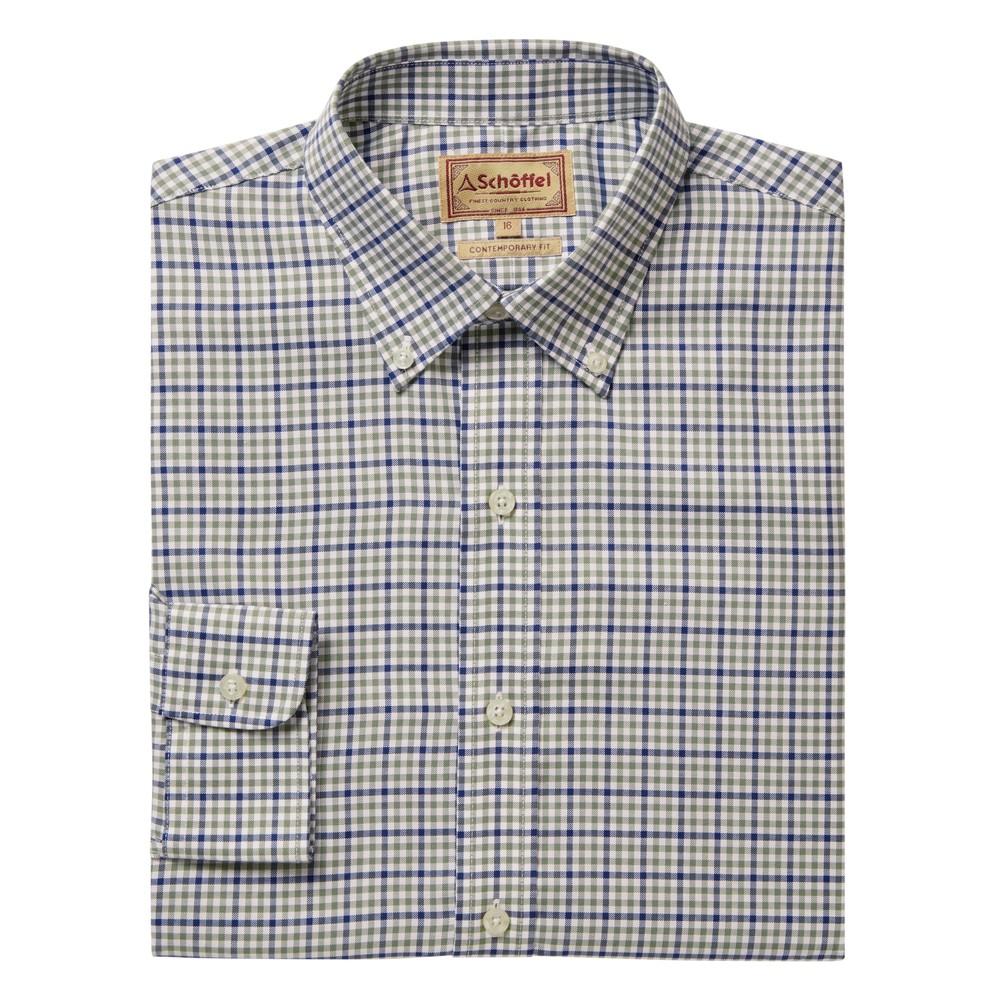 Burnsall Shirt Navy/Olive Micro
