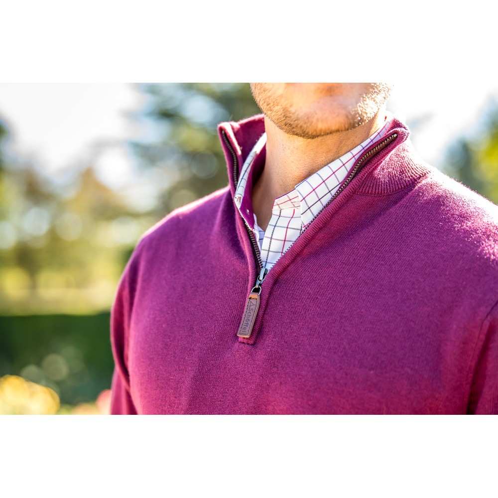 Cotton Cashmere 1/4 Zip Jumper Fig