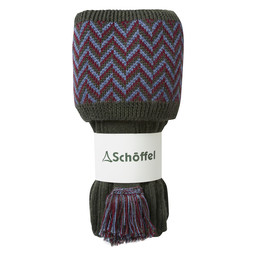 Schoffel Country Herringbone Sock in Forest/Claret/Denim