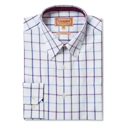 Schoffel Country Brancaster Classic Shirt in Purple Check Wide