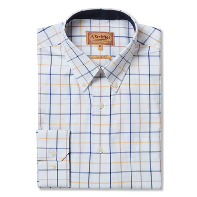 Schoffel Country Brancaster Classic Shirt in Navy/Brown/Yellow Wide