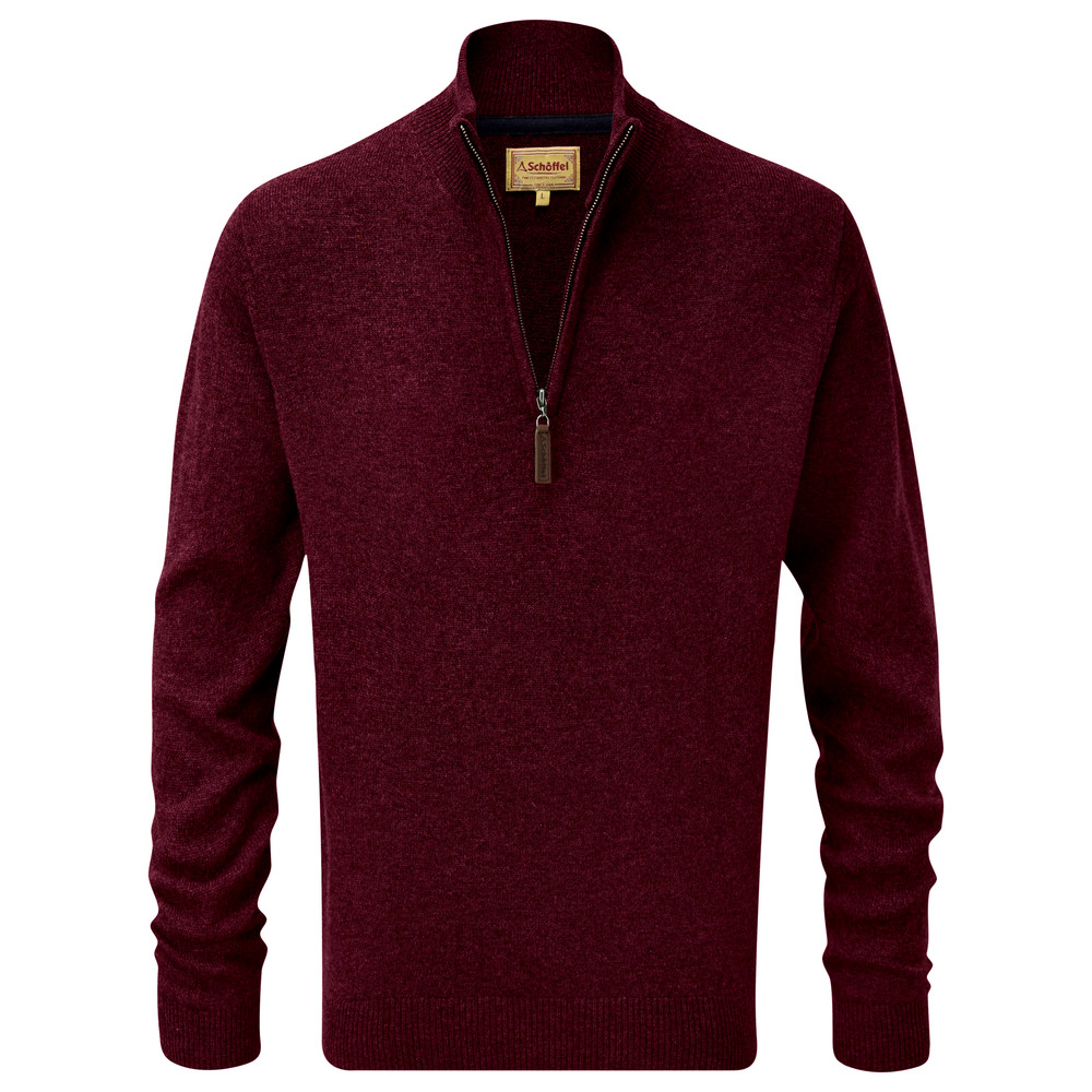 Lambswool 1/4 Zip Jumper Damson