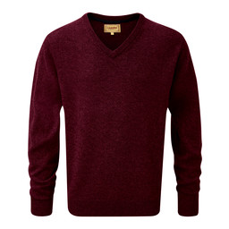 Schoffel Country Lambswool V Neck Jumper in Damson