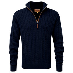 Schoffel Country Cotton Cashmere Cable 1/4 Zip Jumper in Navy