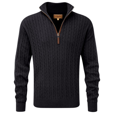 Schoffel Country Cotton Cashmere Cable 1/4 Zip Jumper in Charcoal