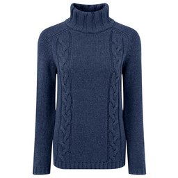 Schoffel Country Merino Cable Roll Neck in Indigo