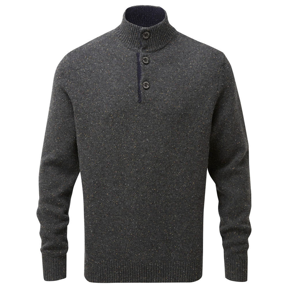 Lambswool Chunky Button Neck Jumper Charcoal Fleck