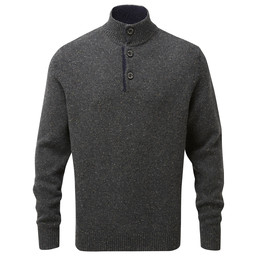 Schoffel Country Lambswool Chunky Button Neck Jumper in Charcoal Fleck