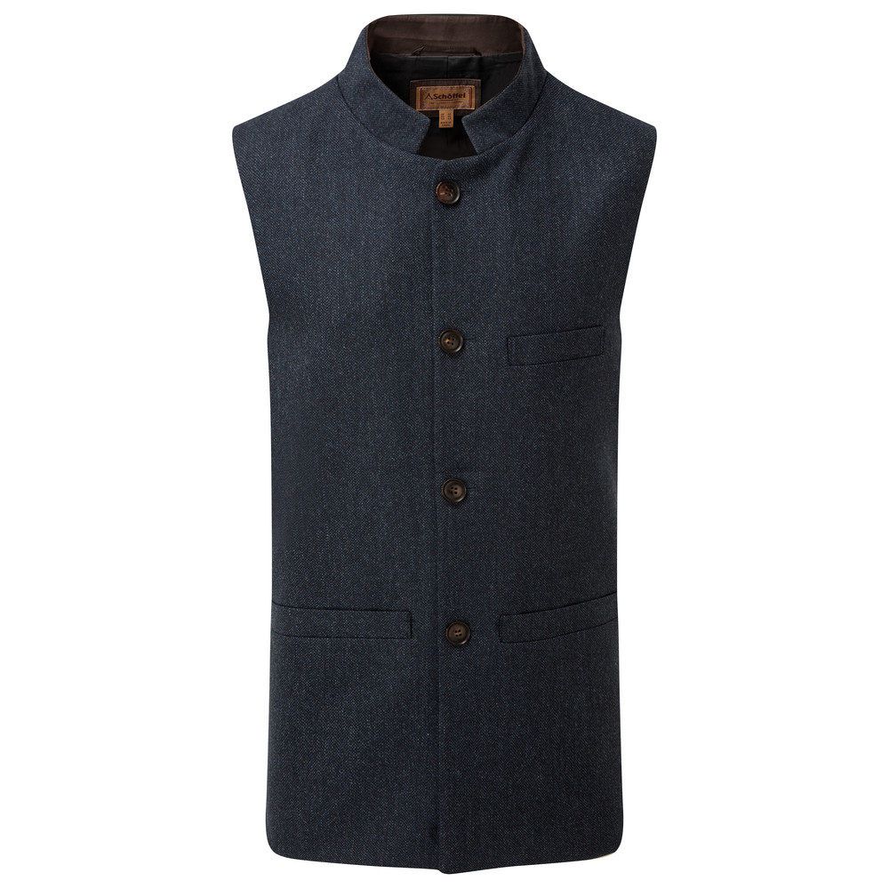 Nehru Waistcoat Navy Herringbone Tweed