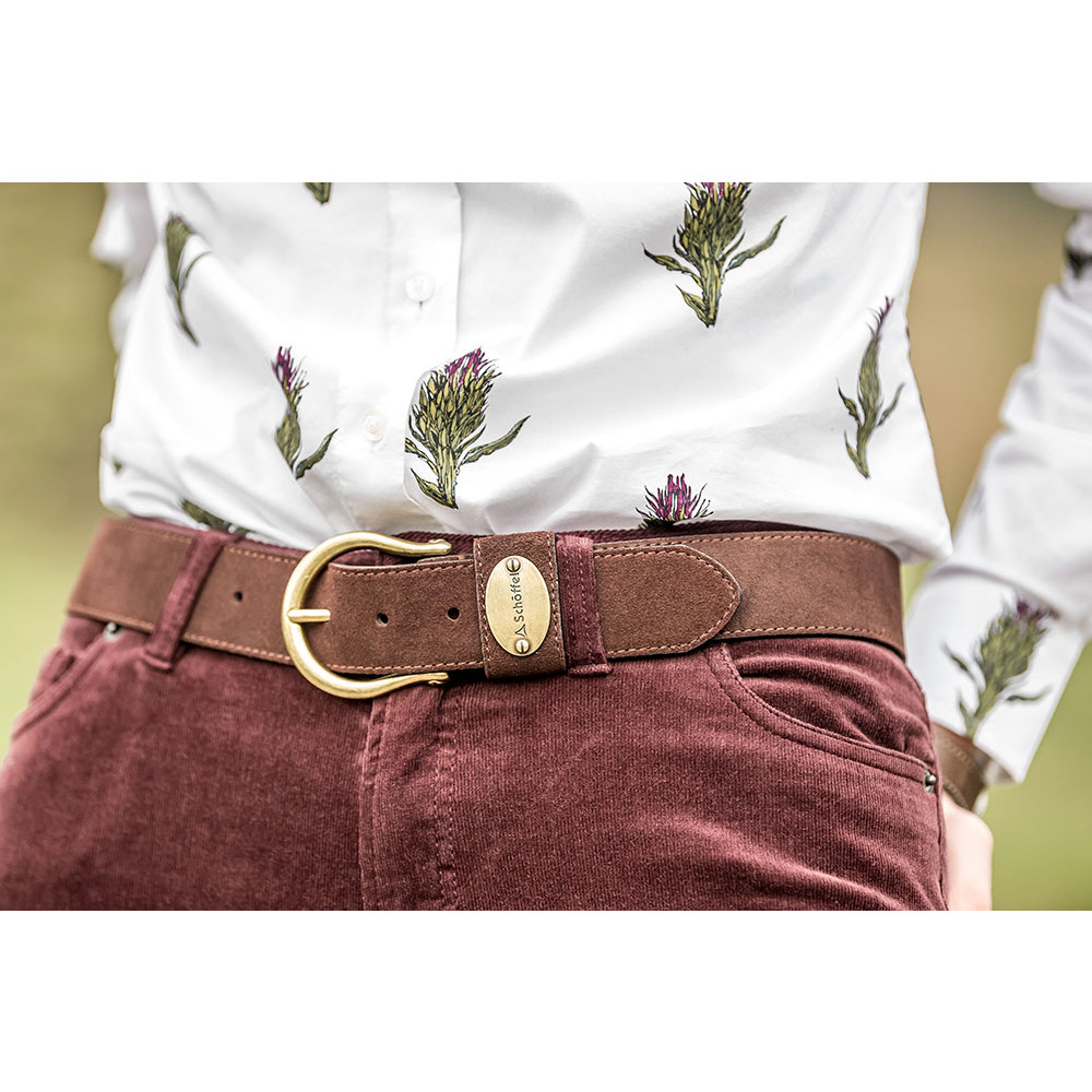Ladies Suede Belt Dark Brown
