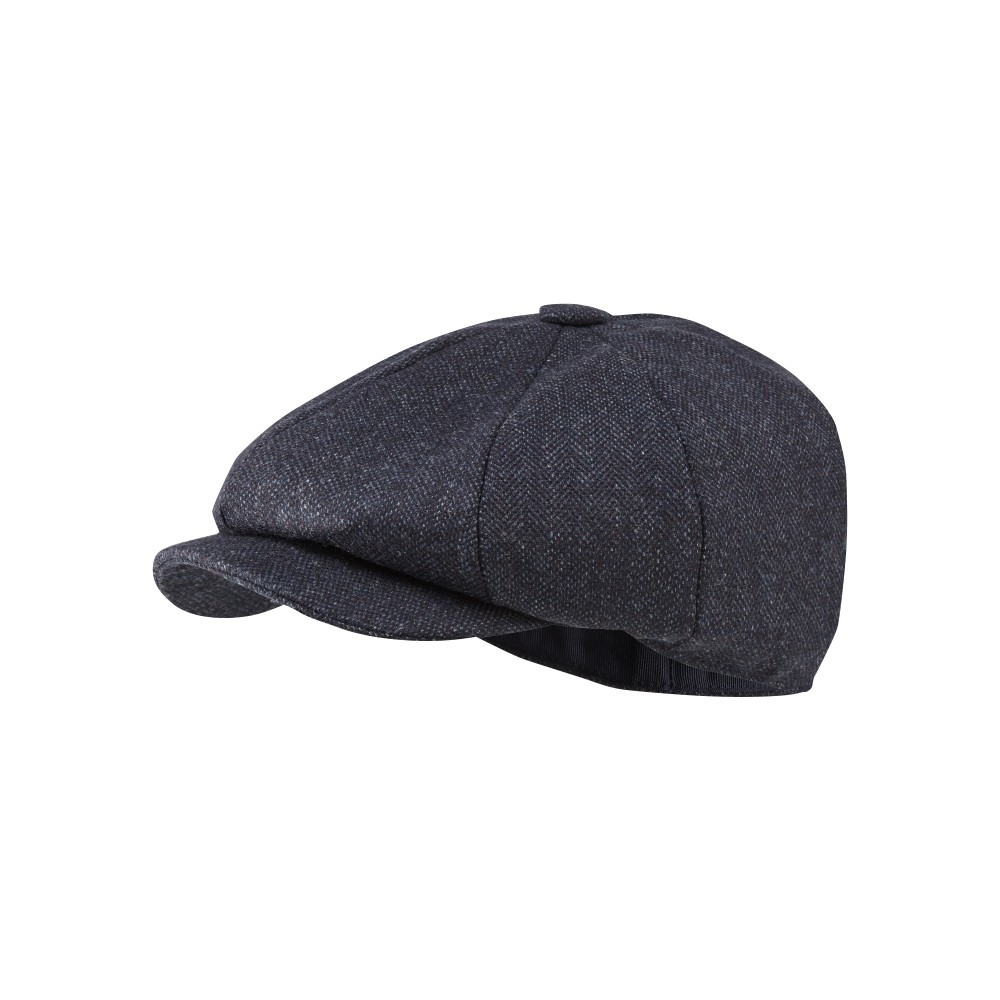 Newsboy Cap Navy Herringbone Tweed