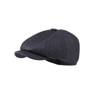 Newsboy Cap Navy Herringbone Tweed