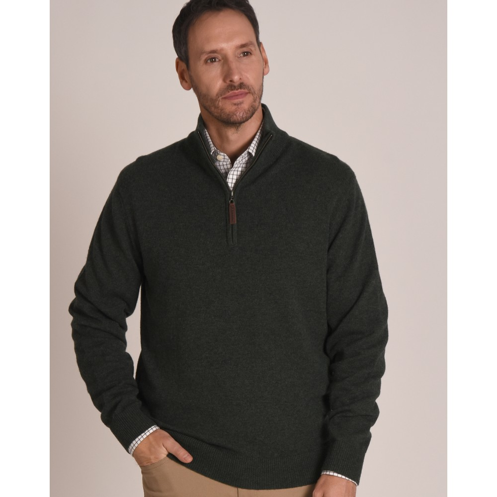 Lambswool 1/4 Zip Jumper Forest