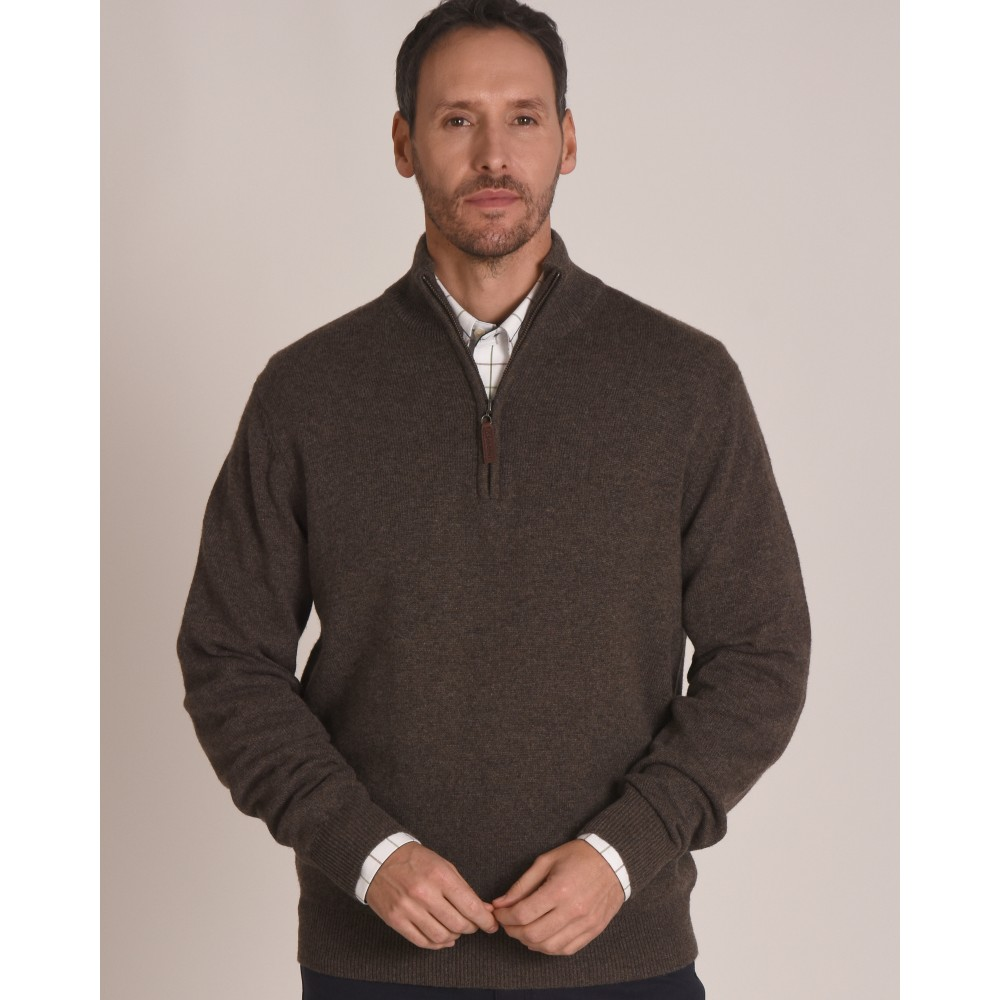 Lambswool 1/4 Zip Jumper Mole