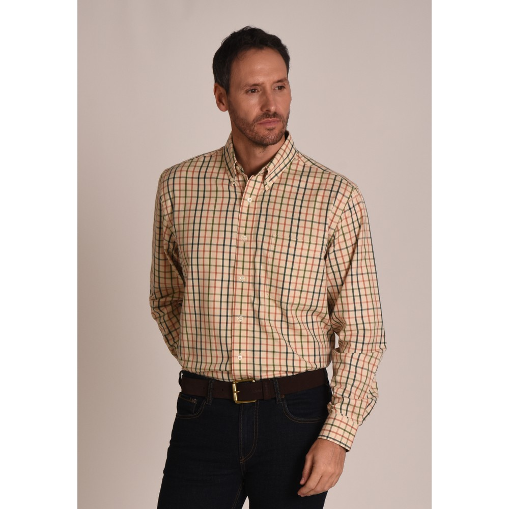 Brancaster Shirt Dark Olive/Brick