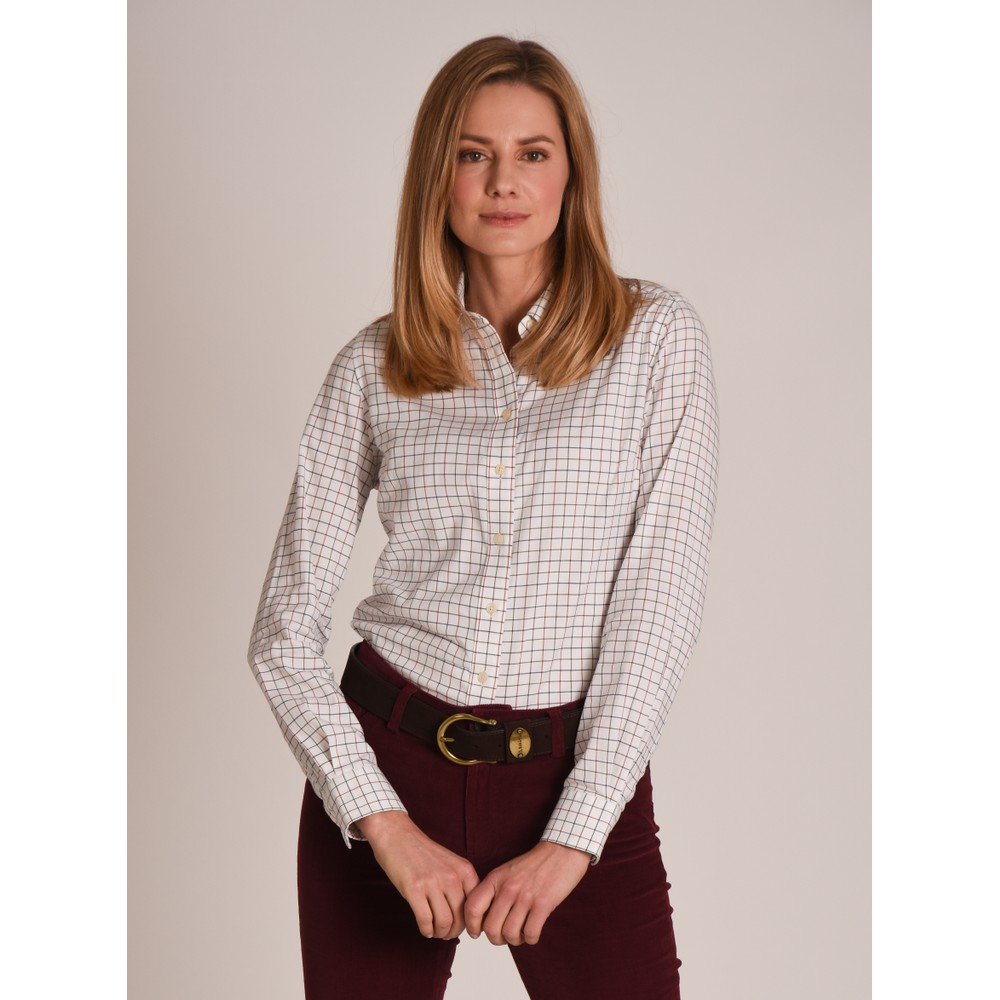 Ladies Tattersall Shirt Red/Olive/Navy