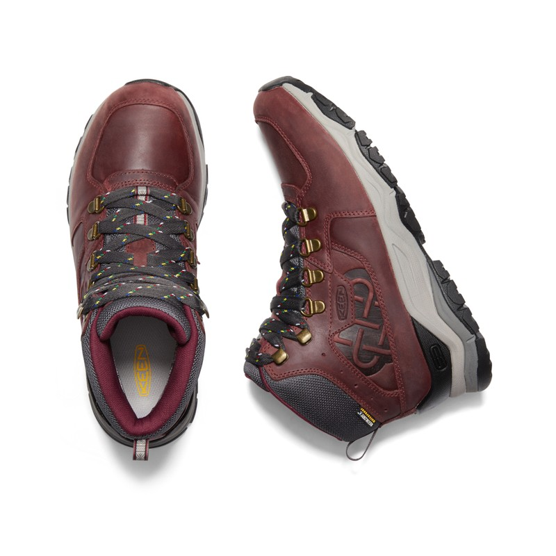 Women's KEEN X Sherpa Innate Leather Waterproof Mid Hiking Boot - Burgundy/Shark