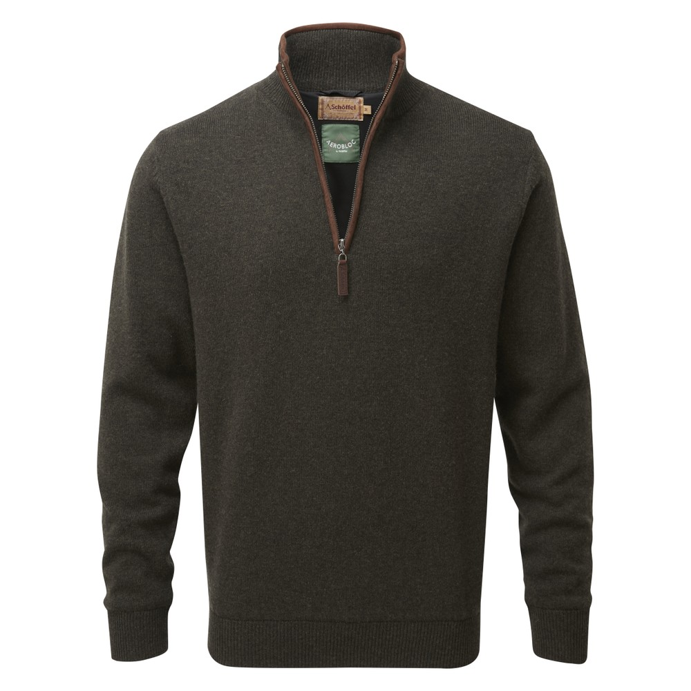 Lambswool Aerobloc 1/4 Zip Jumper Loden Green