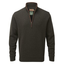 Schoffel Country Lambswool Aerobloc 1/4 Zip Jumper in Loden Green