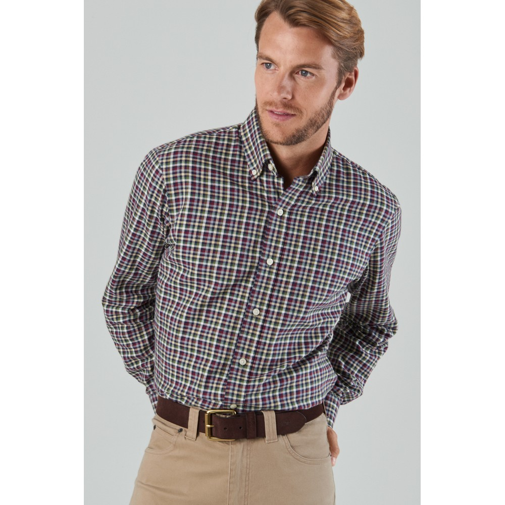 Berkshire Tailored Fit Shirt Fig/Navy/Beige