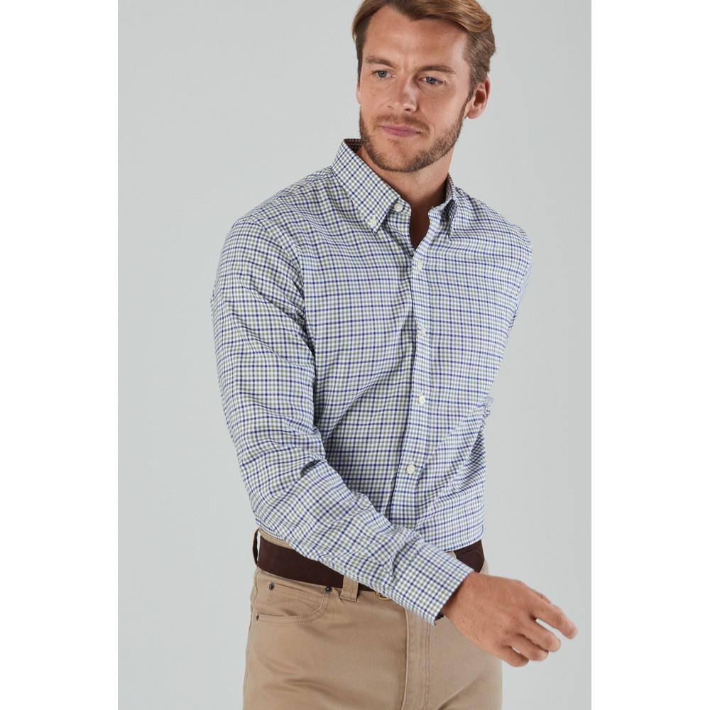 Burnsall Tailored Shirt Navy/Olive Micro