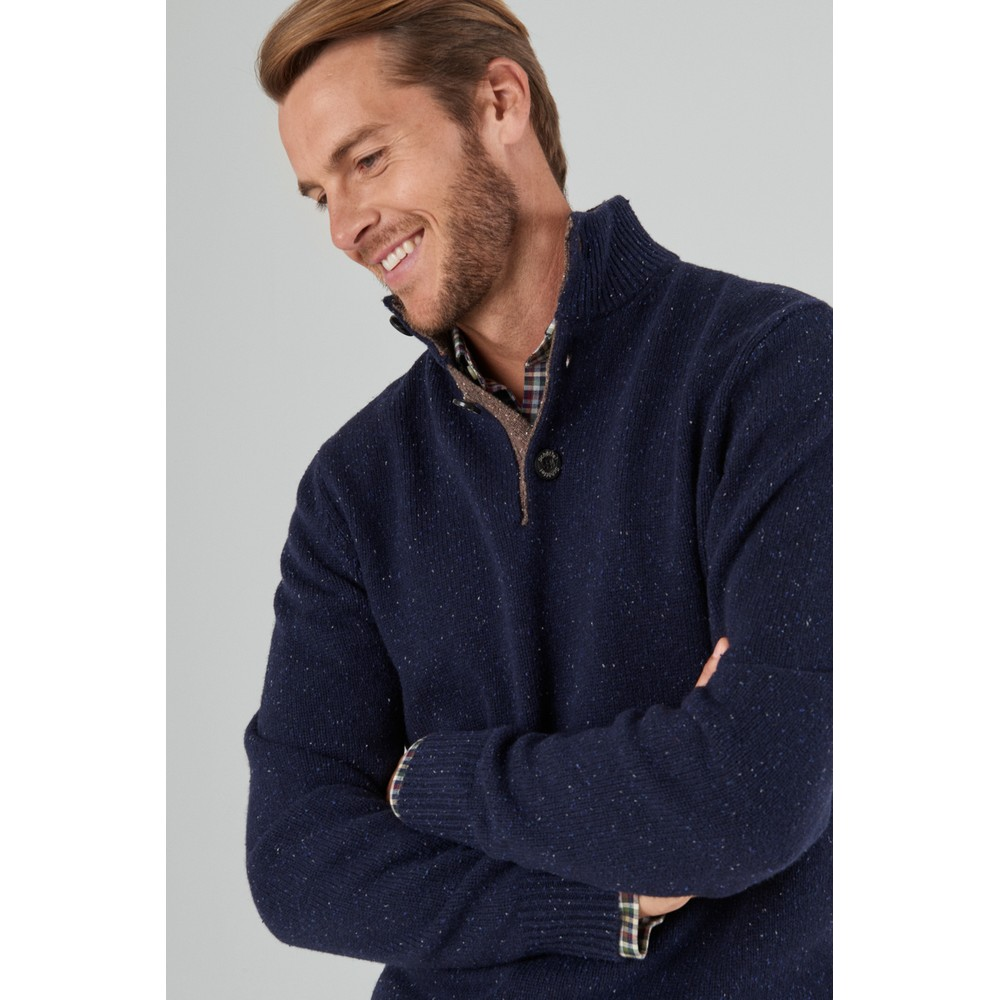 Lambswool Chunky Button Neck Jumper Navy Fleck