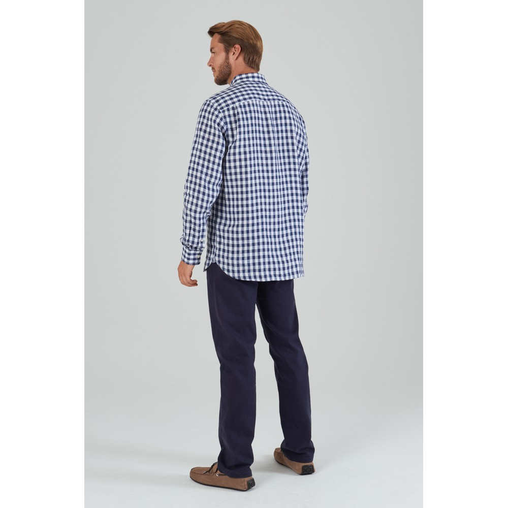 Sandbanks Linen Shirt Navy Check