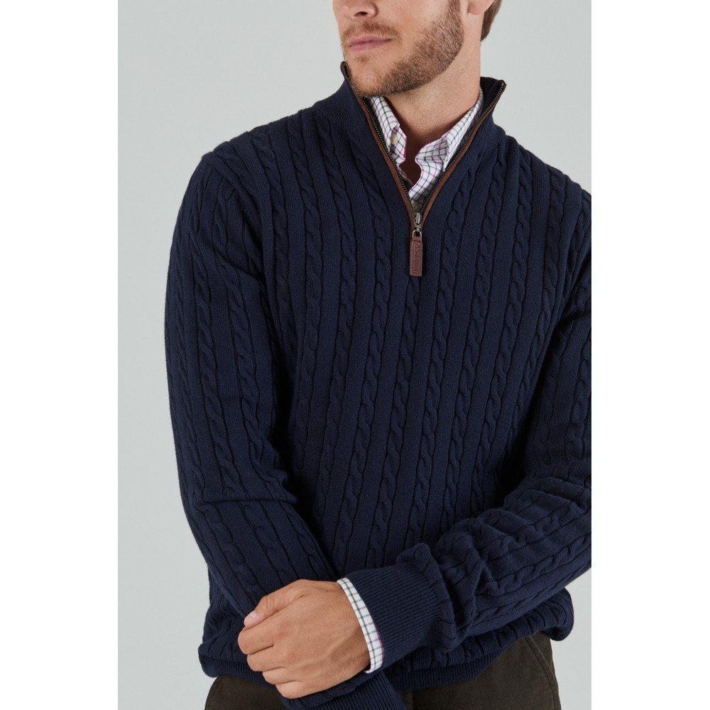 Cotton Cashmere Cable 1/4 Zip Jumper Navy