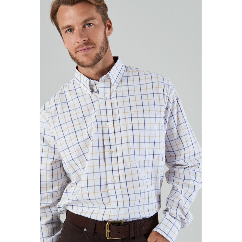 Brancaster Classic Shirt Navy/Brown/Yellow Wide