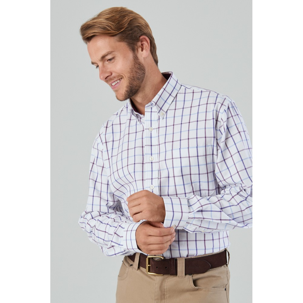 Brancaster Classic Shirt Purple Check Wide