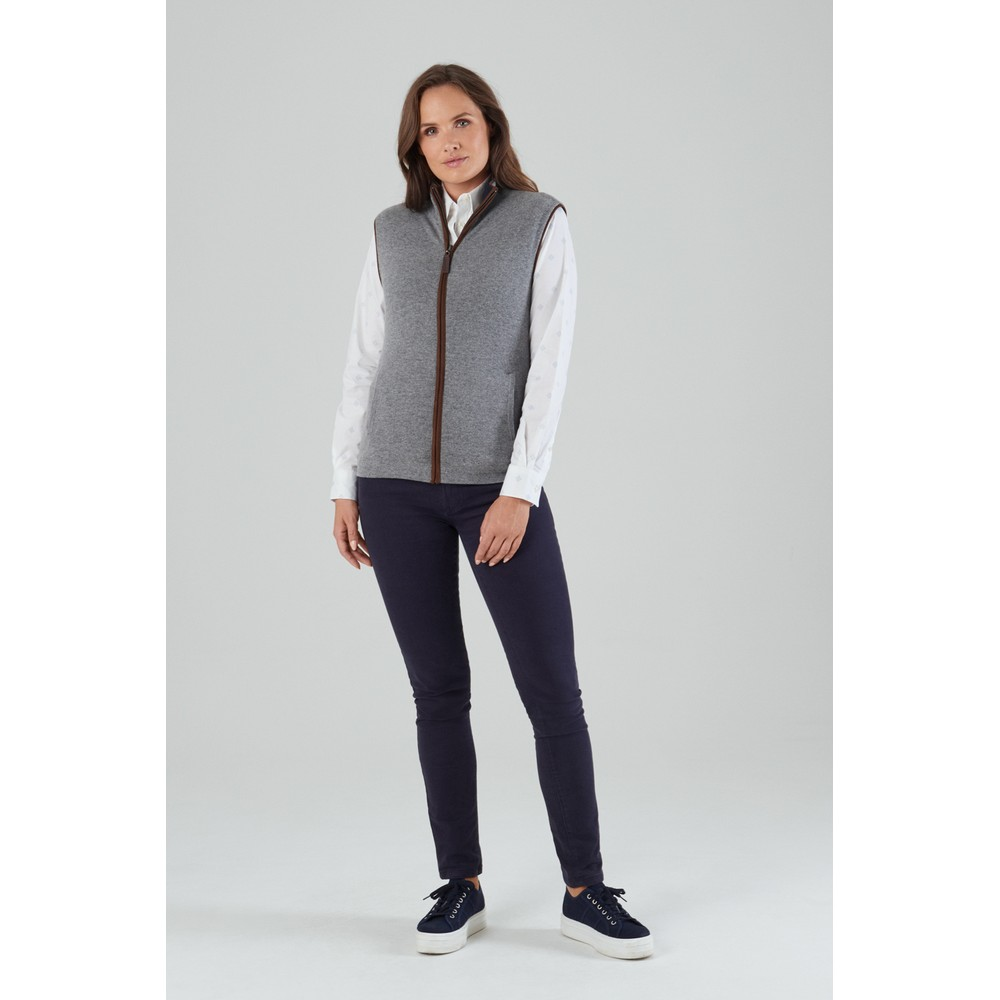 Ladies Reversible Merino/Cashmere Gilet Navy/Grey