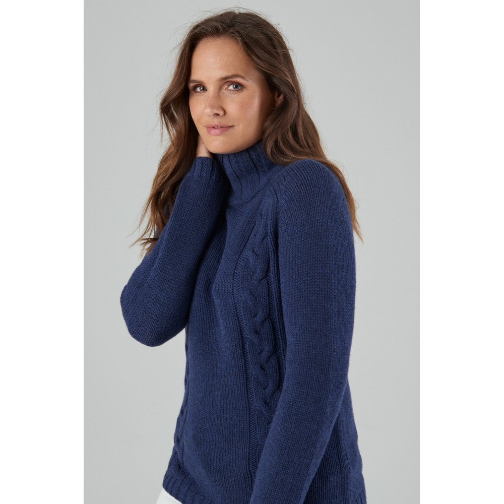 Merino Cable Roll Neck Indigo