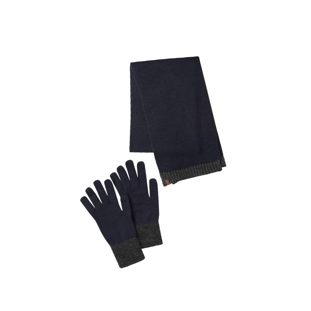 Barleythorpe Scarf & Glove Set Navy/Charcoal
