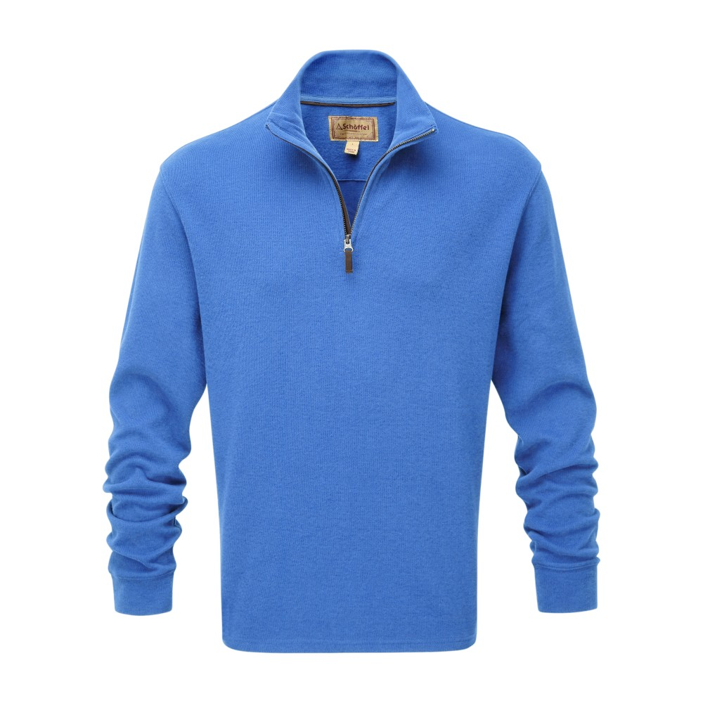 Cotton French Rib 1/4 Zip Cornflower Blue