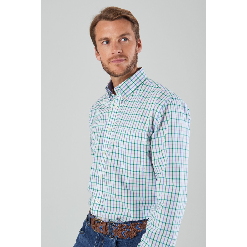 Holkham Classic Shirt Marine/Pink/Green