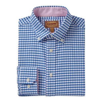 Soft Oxford Tailored Shirt Pale Blue Gingham