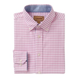 Schoffel Country Soft Oxford Tailored Shirt in Pale Pink Gingham