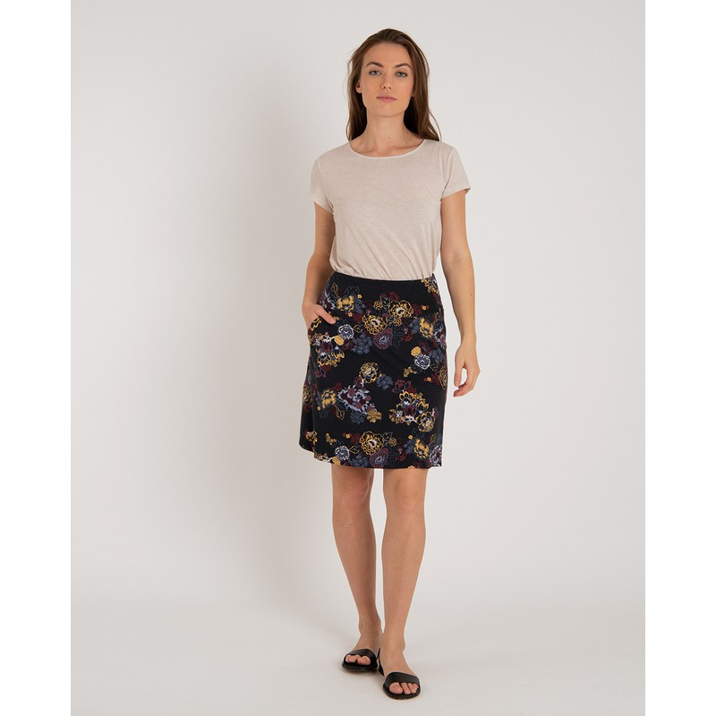 Padma Pull-On Skirt - Black Print