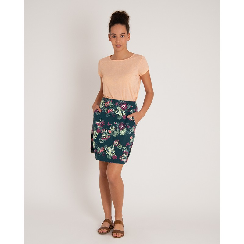 Padma Pull-On Skirt - Rathna Green Print