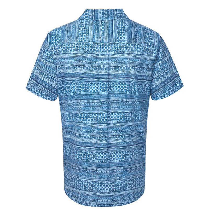 Durbar Short Sleeve Shirt - Langtang Blue Print