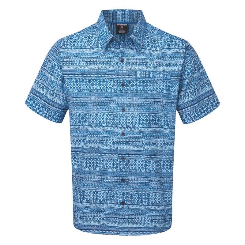 Kurzärmeliges Durbar-Hemd - Langtang Blue Print