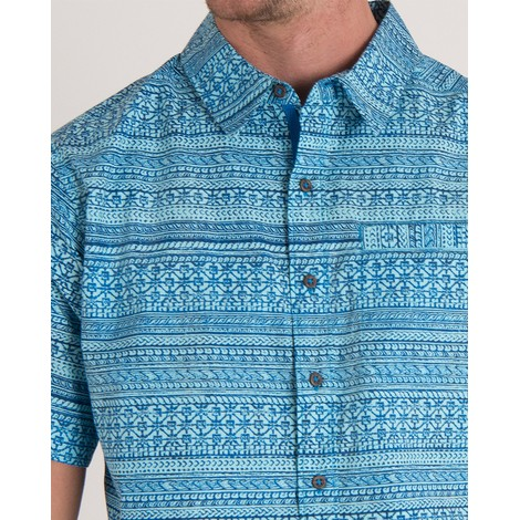 Sherpa Adventure Gear Durbar Short Sleeve Shirt in Langtang Blue Print