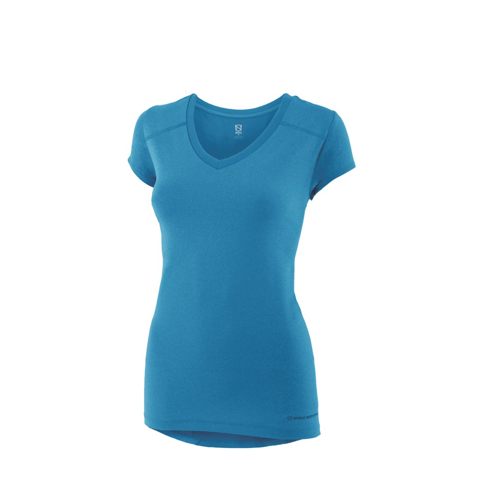 Karleigh S/S V Neck Crystal Blue Heather