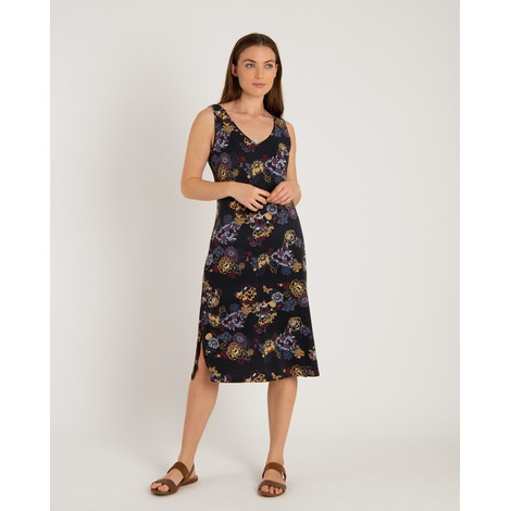Sherpa Adventure Gear Padma Midi Dress in Black Print