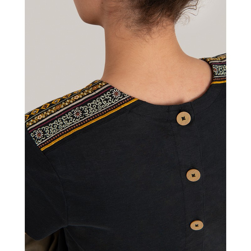 Kiran Embroidery Top - Black