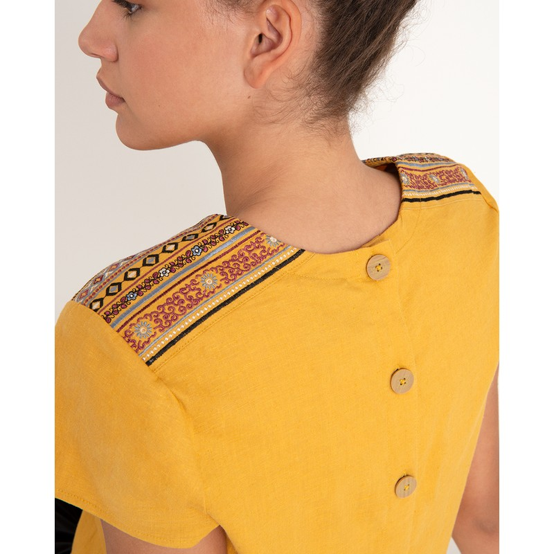 Kiran Embroidery Top - Daal Yellow