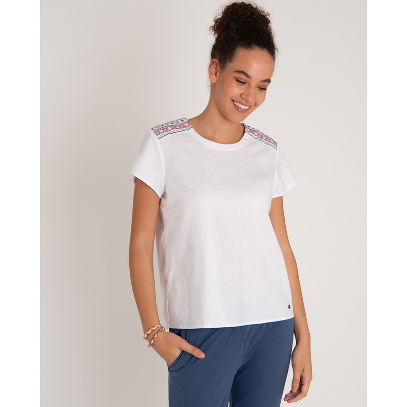 Kiran Embroidery Top - Katha White