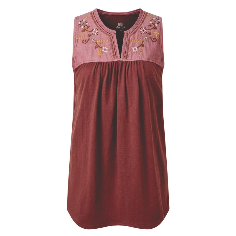 Shaanti Embroidery Top - Ganden Red