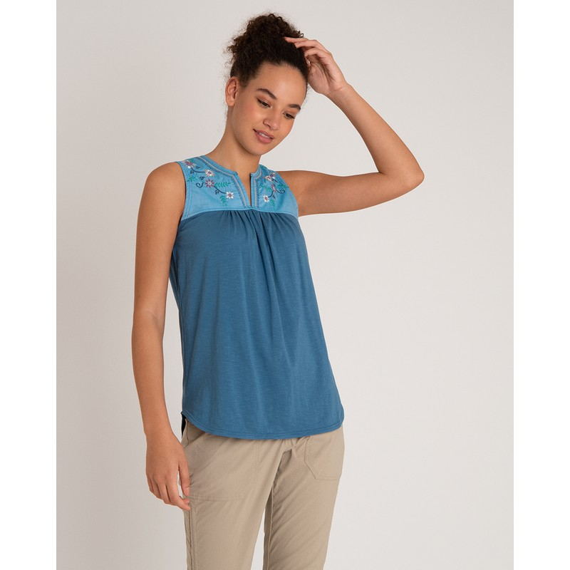 Shaanti Embroidery Top - Tilicho Blue