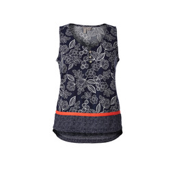 Royal Robbins Cool Mesh Eco-Tank Print in Deep Blue Flower/Dot Border